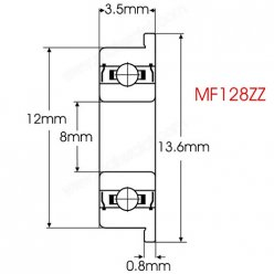 MF128ZZ Flanged Deep Groove Ball Bearing