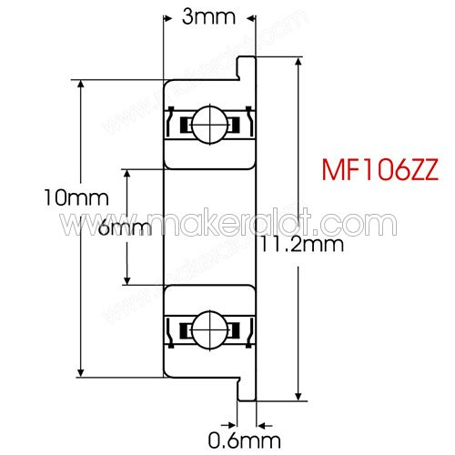 MF106ZZ Flanged Ball Bearing 6 x 10 x 3mm - Click Image to Close