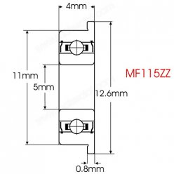 MF115ZZ Flanged Bearing