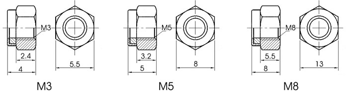 M3 M5 M8 Self Locking Nut